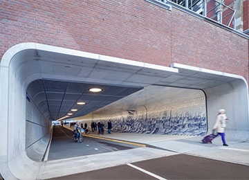 Cycling and pedestrian subway Cuyperspassage in Amsterdam, 2009 © Jannes Linders