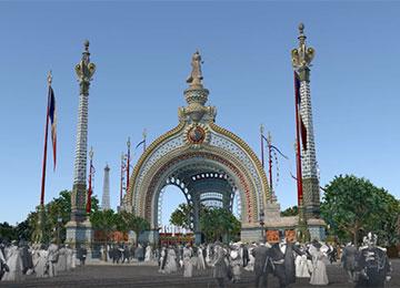 VR-Rekonstruktion der Porte Monumentale von 1900 © Porzellanikon / LeMog