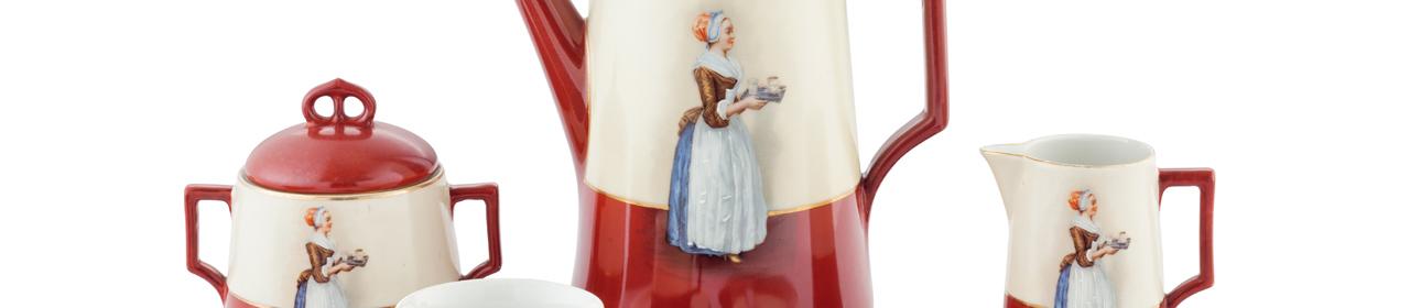 Kaffeeservice mit Schokoladenmädchen, angekauft mit Mitteln des Fördervereins Porzellanikon Selb und Hohenberg an der Eger e. V.
